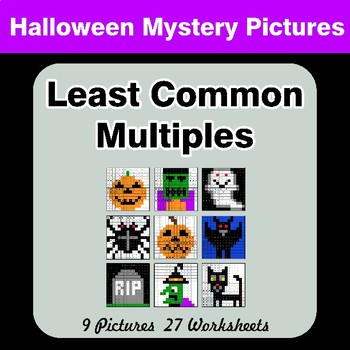 LCM: Least Common Multiple - Halloween Mystery Pictures / Color By Number