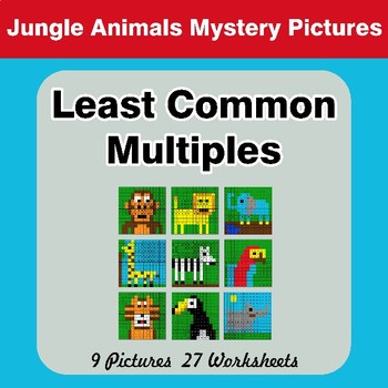 LCM: Least Common Multiple - Jungle Animals Mystery Pictures / Color By Number