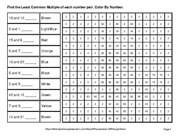 LCM: Least Common Multiple - Math Mystery Pictures - Native American Indians
