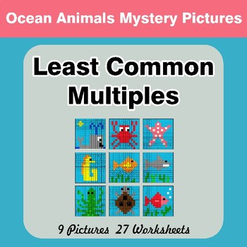 LCM: Least Common Multiple - Ocean Animals Mystery Pictures / Color By Number