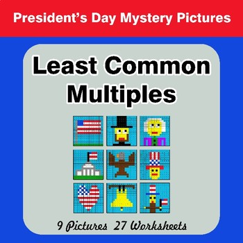 LCM: Least Common Multiple - President's Day Mystery Pictures / Color By Number