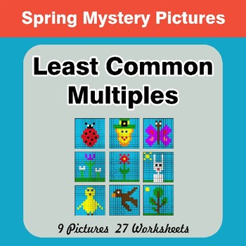 LCM: Least Common Multiple - Spring Mystery Pictures / Color By Number