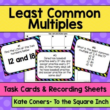 LCM Least Common Multiple Task Cards