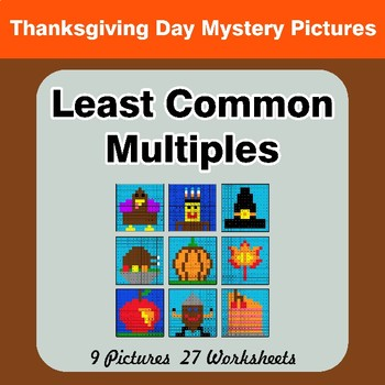 LCM: Least Common Multiple - Thanksgiving Mystery Pictures / Color By Number