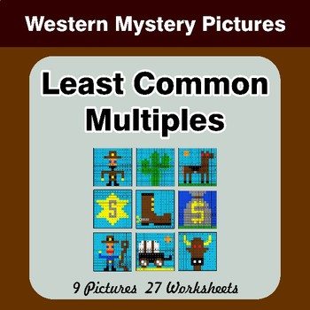 LCM: Least Common Multiple - Western Mystery Pictures / Color By Number