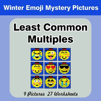 LCM: Least Common Multiple - Winter Emoji Mystery Pictures / Color By Number