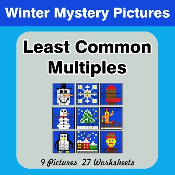 LCM: Least Common Multiple - Winter Mystery Pictures / Color By Number