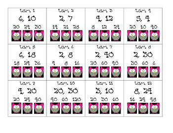 LCM Punch Card Game
