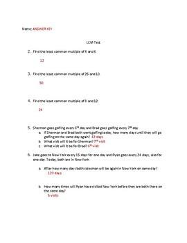 Least Common Multiple Quiz & Answer Key