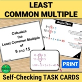 LCM Least Common Multiple Self Checking Task Cards | PRINT
