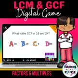 LCM and GCF Digital Game | Factors and Multiples Activity