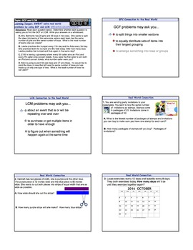 LCM and GCF Mixed Word Problems Smart Notebook Lesson