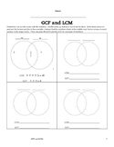 LCM and GCF Venn Diagram Activity