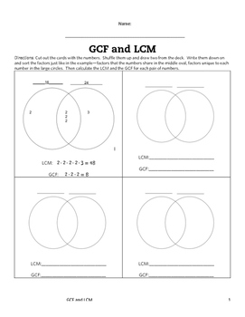 LCM and GCF Venn Diagram Activity