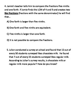 LCM for comparing fractions GUIDED NOTES TEKS 4.3.D