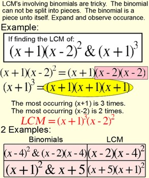 LCM of #'s, monomials & binomials Student Reference & 3 Assignments Power Point