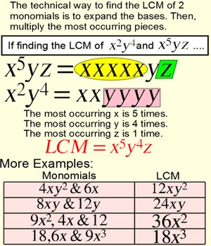 LCM of #'s, monomials & binomials Student Reference & 3 Assignments for SMART