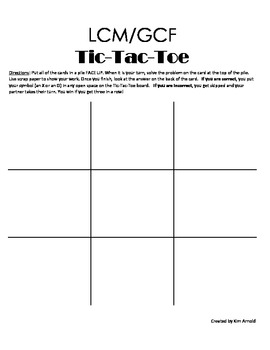 math worksheet : lcm gcf tic tac toe game least common multiple  greatest common  : Gcf And Lcm Worksheet