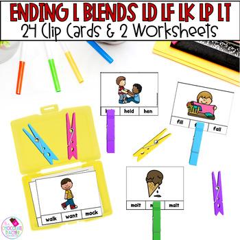 Ending Blends Consonant Clip Cards With LD, LF, LK, LP, LT