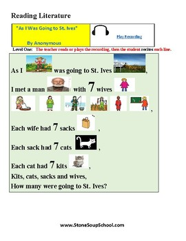K - 2 LD Learning Disabled - Poetry - As I Was Going to St Ives
