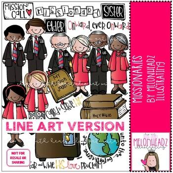 LDS missionaries clip art - LINE ART - Melonheadz clipart