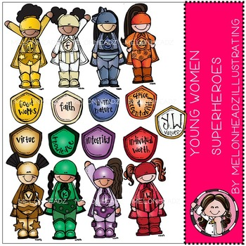 LDS young women values clip art - superheroes - COMBO PACK- by Melonheadz