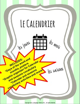 LE CALENDRIER Posters, Graphic Organizers and Vocabulary P