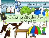 LE Ending Phonics Clip Art Set 1 - Color and Line Art 24 pc set