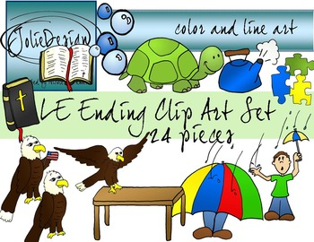 LE Ending Phonics Clip Art Set 1 - Color and Line Art 24 pc set