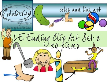 LE Ending Phonics Clip Art Set 2 - Color and Line Art 20 pc set