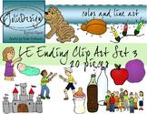 LE Ending Phonics Clip Art Set 3 - Color and Line Art 23 pc set