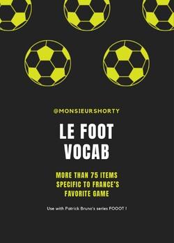Vocabulary - LE FOOTBALL