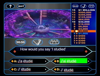 LE PASSE COMPOSE AVEC AVOIR: Who Wants to Be a Millionaire Review Game