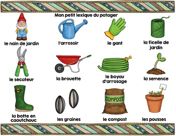 LE POTAGER - Mots de vocabulaire /24 affiches (script et cursif)