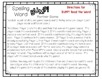 LEAD21 Grade 1 Supplement – SPELLING WORD BUMP! Partner Game - Center Time Fun!