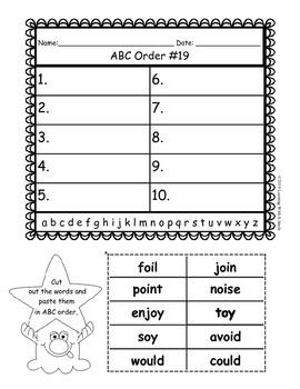 LEAD21 Second Grade ABC Order (2nd letter and beyond) Cut and Paste