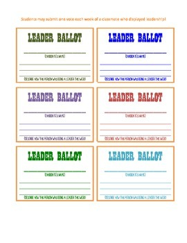 LEADER BALLOT | Leader Habits & Growth Mindset| Behavior Management