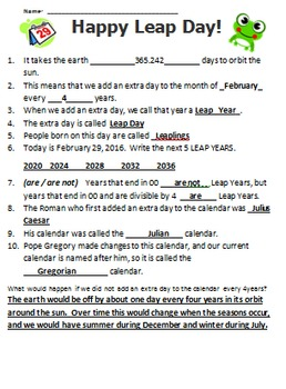 LEAP DAY / LEAP YEAR - FREE word search, questions, video & information links