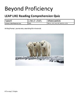 LEAP LIKE Reading Comprehension Quiz: A Very Cold Place