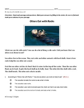 LEAP LIKE Reading Comprehension Quiz:  Otters Eat with Rocks