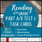 Reading Part A Part B Test, Task Cards RLI 2- Nonfiction and Fiction