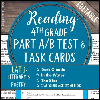 LEAP, PARCC, Standardized Test Practice & ELA Task Cards Set 8- Grade 4