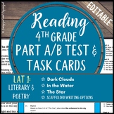 Reading Part A Part B Test, Task Cards LAT 1- Fiction and Poetry