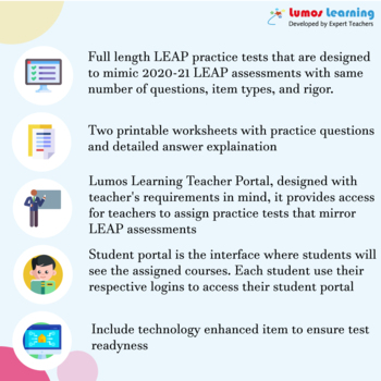 LEAP Practice Test, Worksheets - 6th Grade Math Test Prep