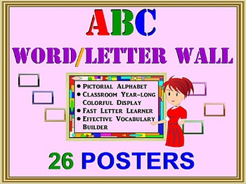 ALPHABET 26 A-Z WALL POSTERS. Learn ABC Faster, Vocabulary Builder, PreK-1