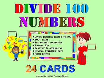 DIVISION OF NUMBERS FROM 1 TO 100. 28 WORKSHEETS / TASK CARDS, Test Prep, Review
