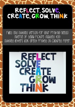 LEARN (Reflect, Solve, Create, Grow, Think) Display