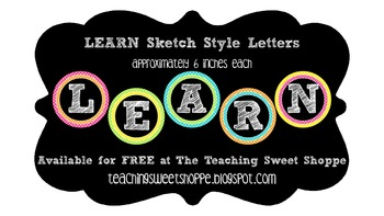 """""""LEARN"""" Sketch Style Letters"""