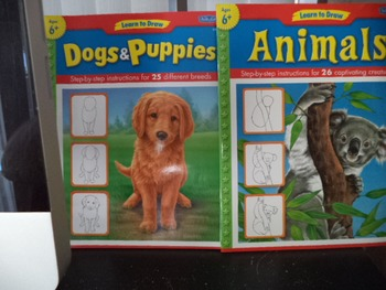 LEARN TO DRAW   DOGS  PUPPIES  ANIMALS         (SET OF 2)