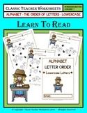 Order of Letters - Lowercase Letters - Kindergarten Grade 1 (1st Grade)